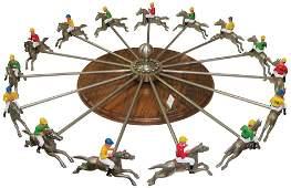HC Evans Antique Horse Race Wheel Gambling Game