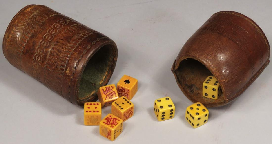 Two Early Leather Dice Cups