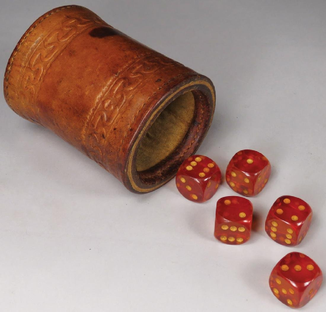 Antique Tooled Leather Dice Cup and Dice