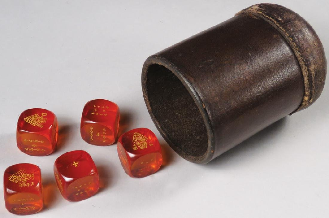 Antique Leather Dice Cup and Poker Dice