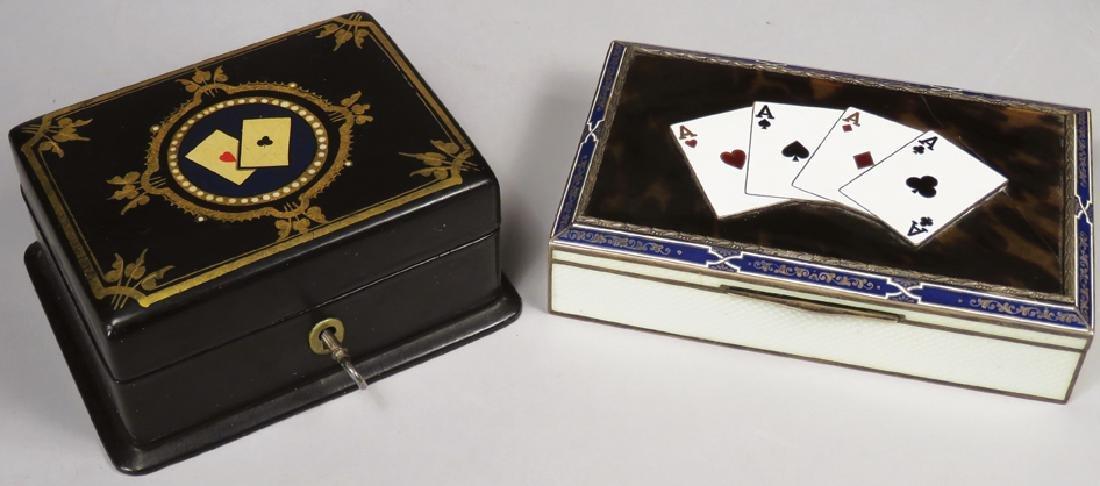 Two Antique Card Suit Motif Trinket Boxes