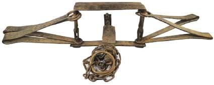 18th Century Hand Forged Bear Trap w/Chain