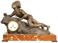 Bronze Native American Figural Clock