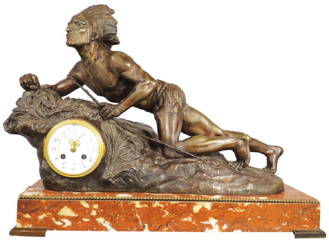 Bronze Native American Figural Clock
