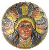 Native American High Relief Embossed Plaque