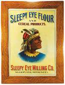 Rare Sleepy Eye Flour and Cereal Products Tin Sign