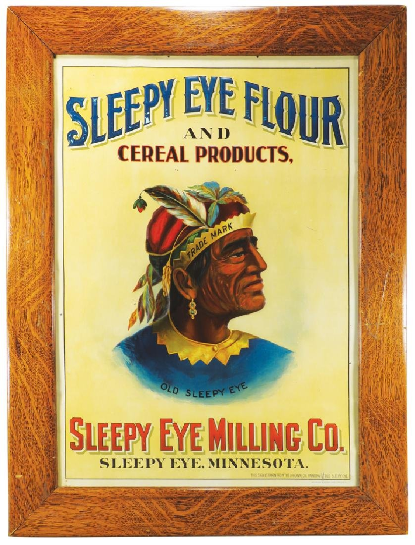 Rare Sleepy Eye Flour and Cereal Products Tin Sign