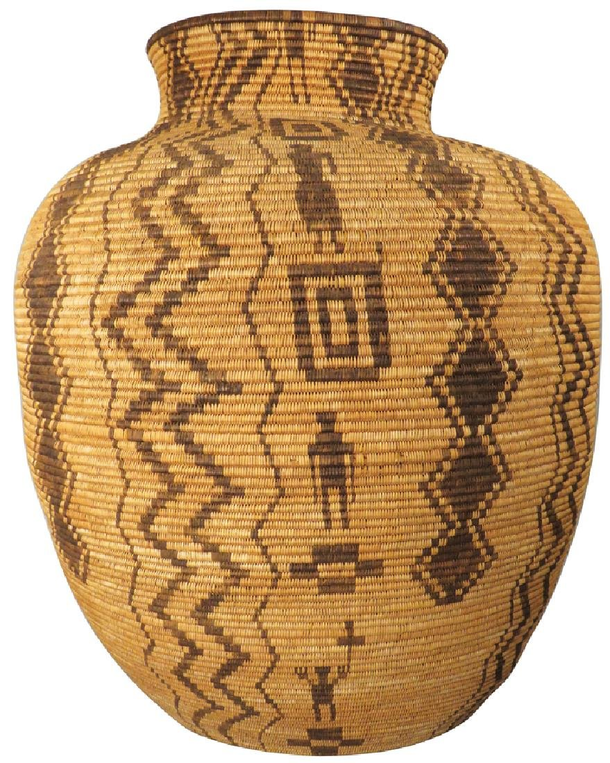 Antique Native American Woven Olla Basket Jar