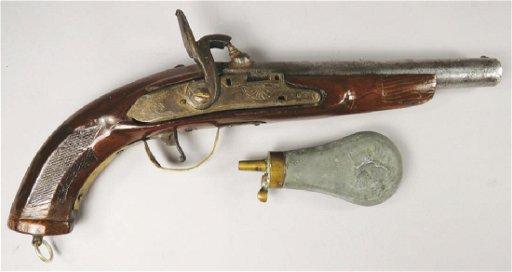 Flintlock Black Powder Pistol And Flask