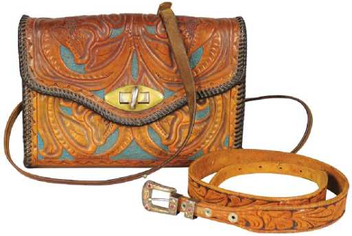 d50c324393c9e9 Vintage Hand Tooled Leather Bag and Belt