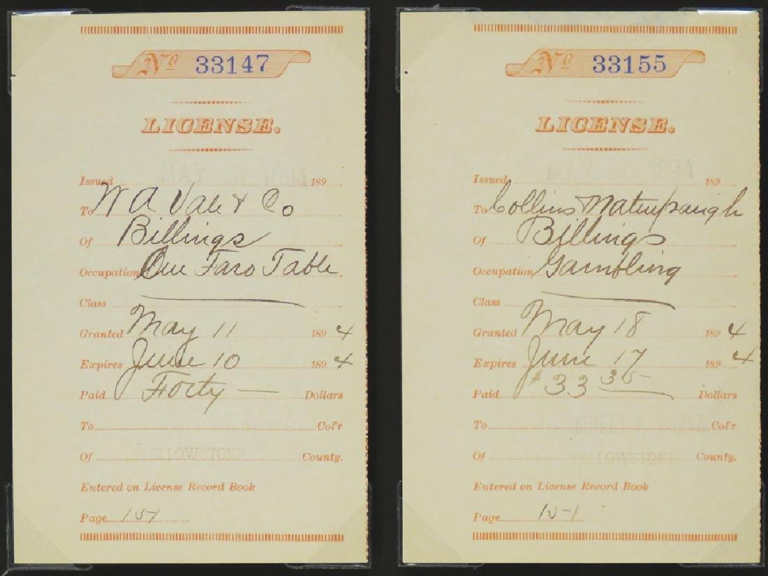 Two 1894 Montana Gambling License Receipts