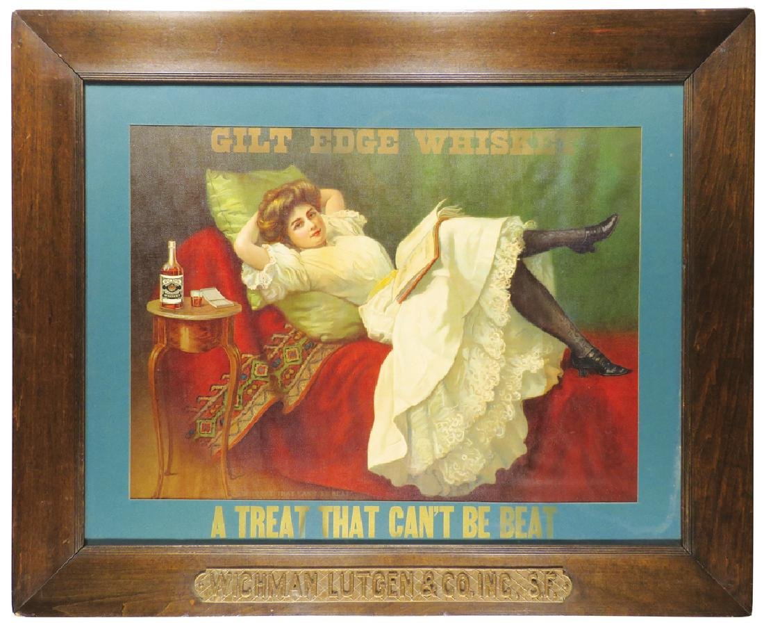 """Gilt Edge Whiskey """"A Treat that can't be beat"""" Sign"""