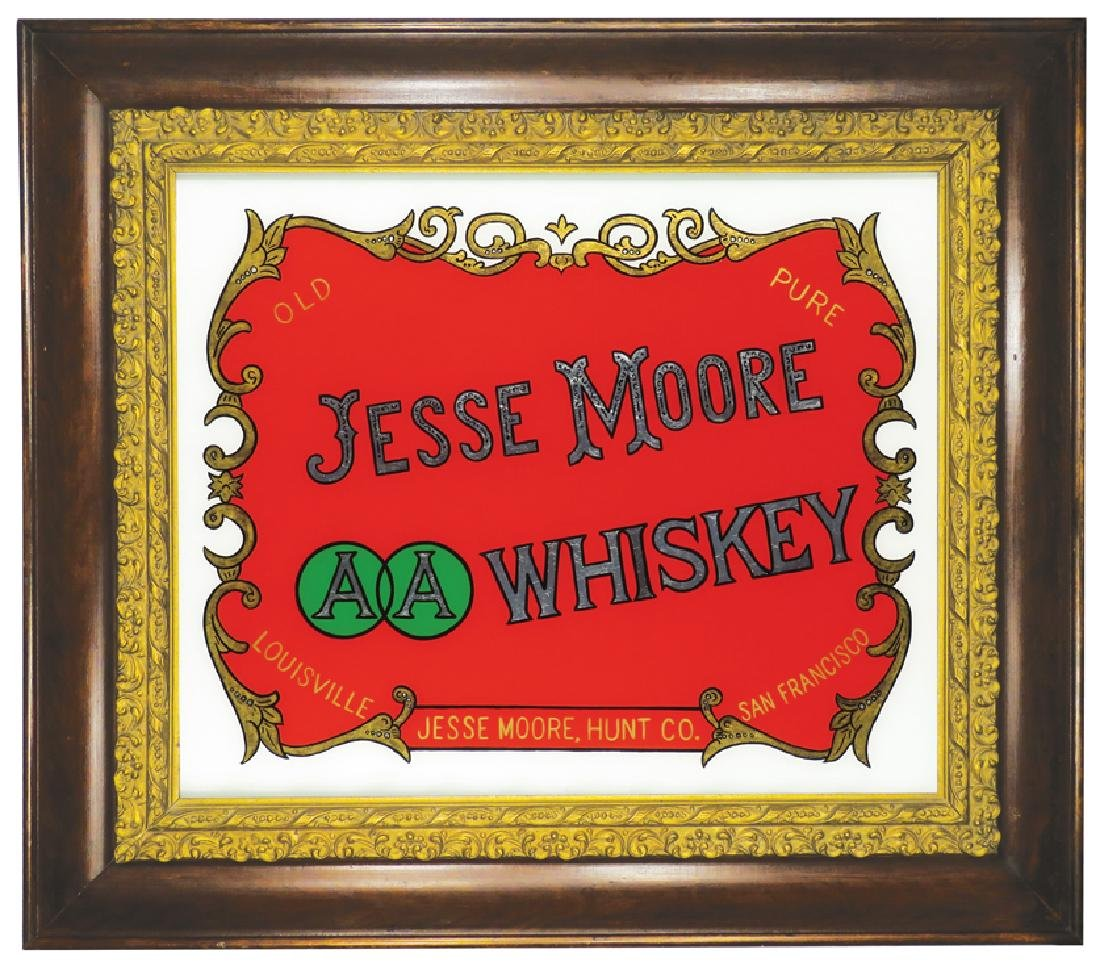Jesse Moore Reverse Glass Sign