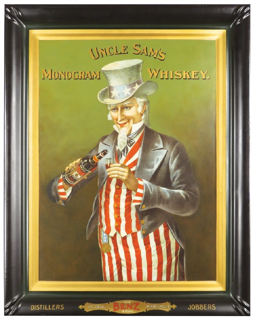 Uncle Sam's Monogram Whiskey Tin Sign