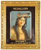 Medallion Whiskey Self Framed Tin Sign