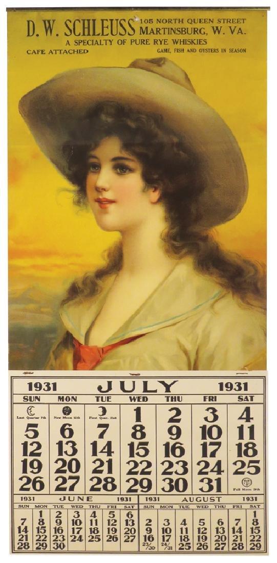 1931 Calendar for D.W. Schleuss-Martinsburg, W.Va