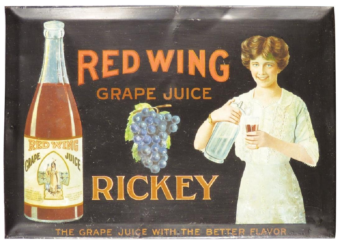 Red Wing Grape Juice Tin Over Cardboard Sign