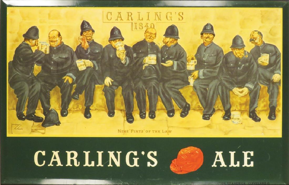 Carling's Ale Beveled Tin Over Cardboard Sign