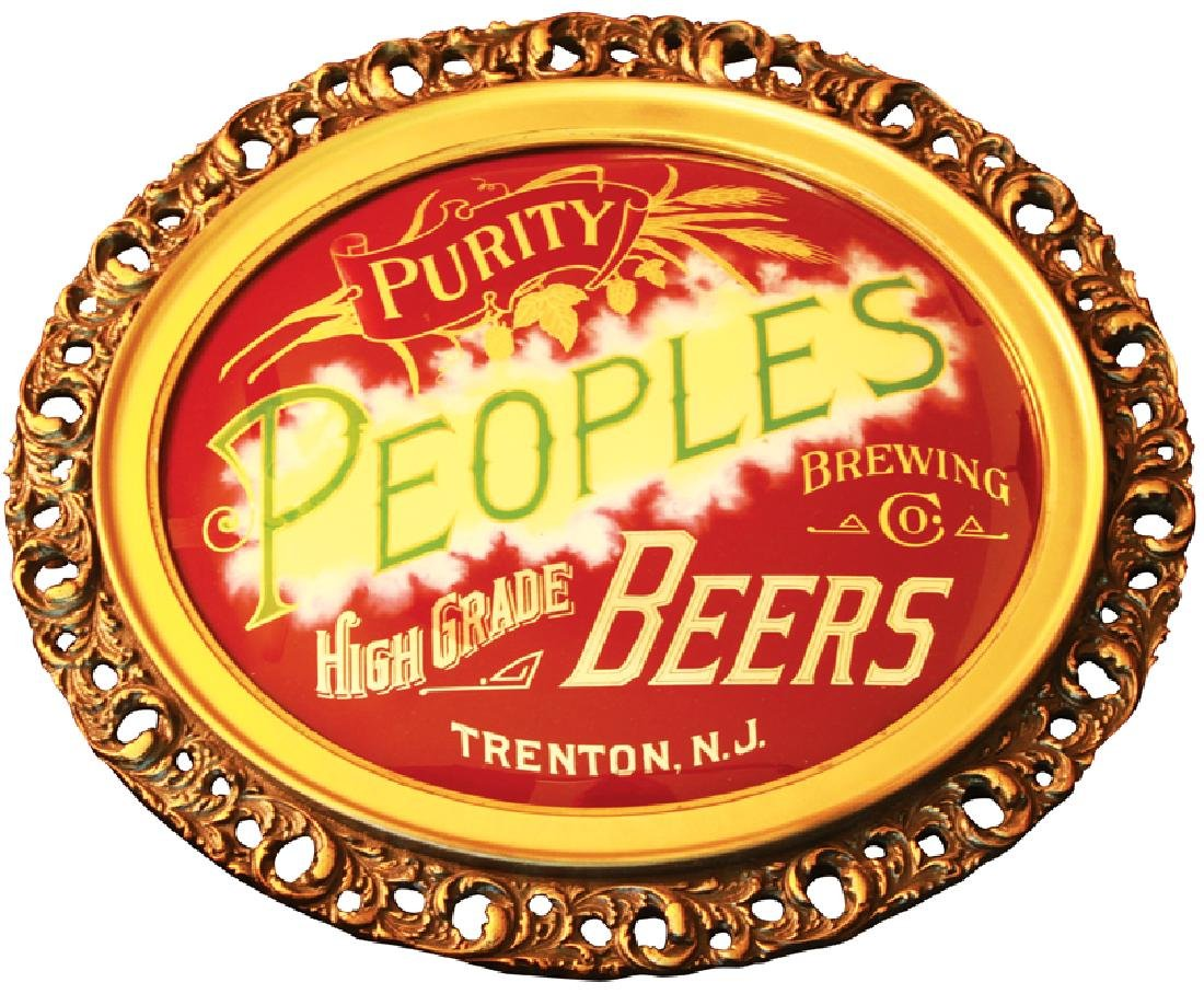 Peoples Brewing Company Reverse Glass Sign