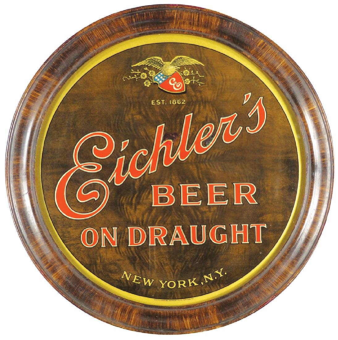 Eichler's Beer on Draught Tin Sign