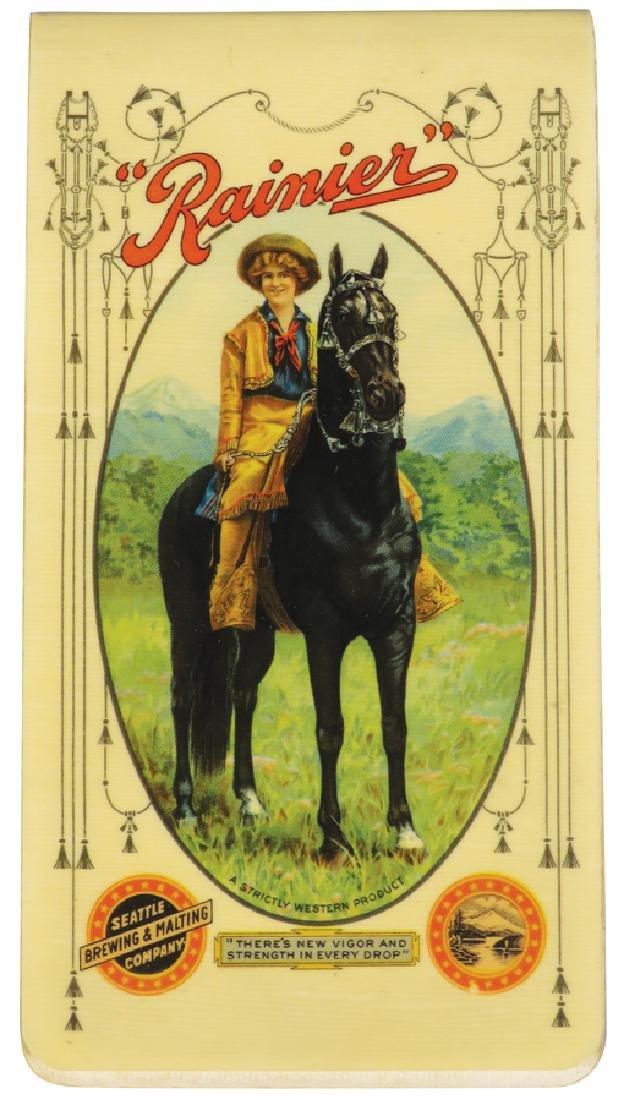 1906 Calendar Celluloid Notebook for Rainier Beer
