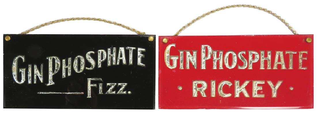 Two Chain Hanging Gin Phosphate Glass Signs