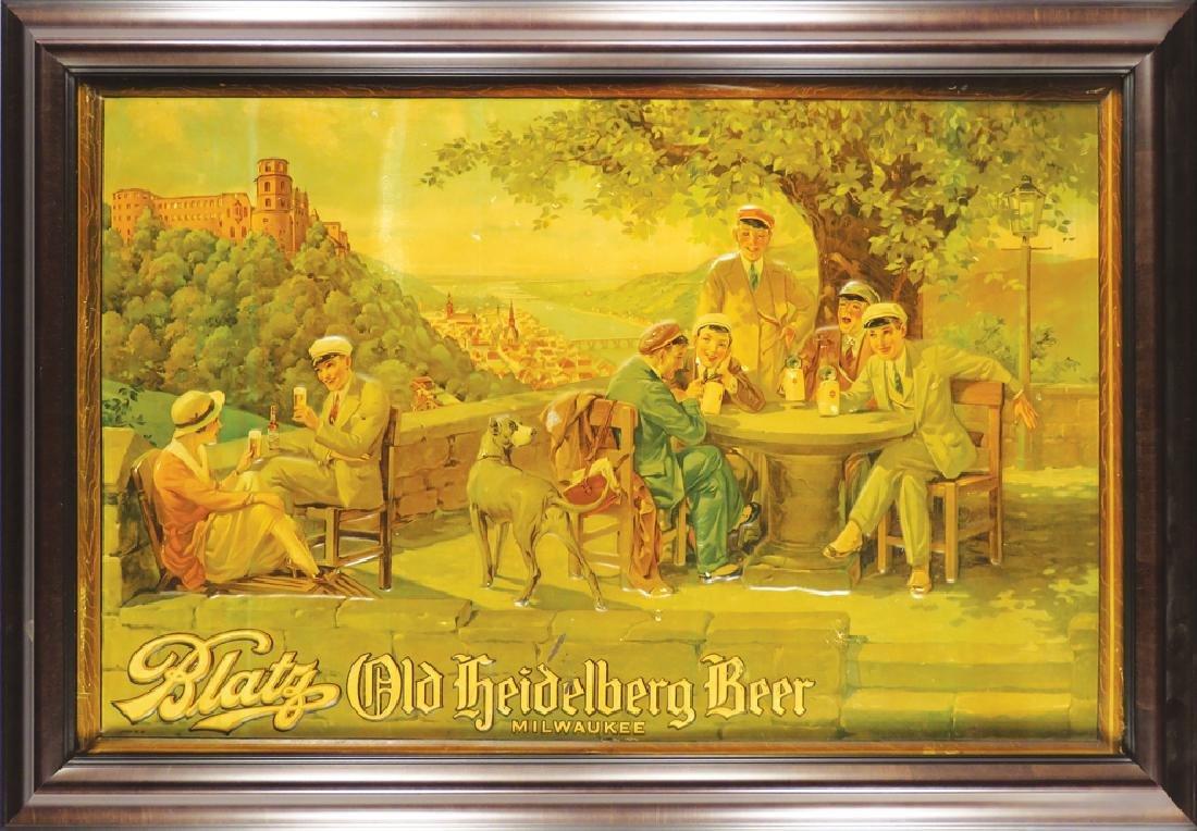 Rare Blatz Old Heidelberg Beer Embossed Tin Sign