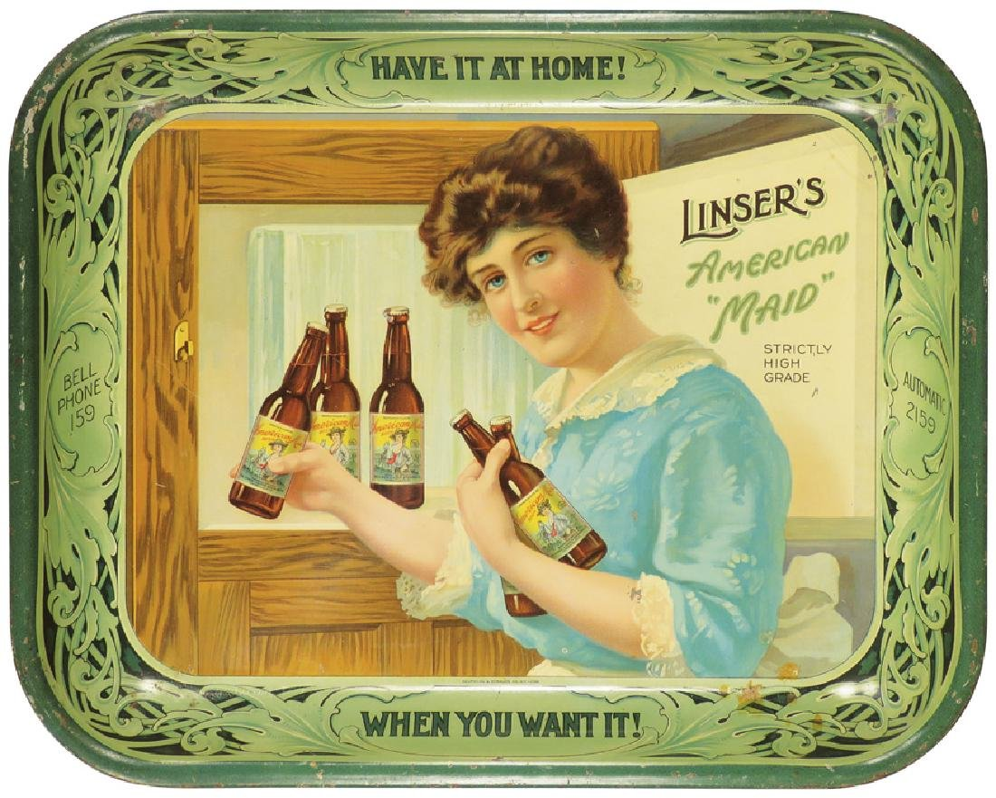 Linser's American Maid Beer Tin Serving Tray