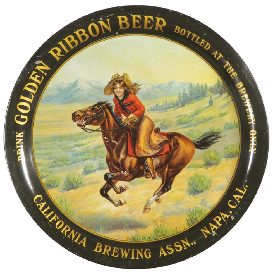 Golden Ribbon Beer Tin Serving Tray