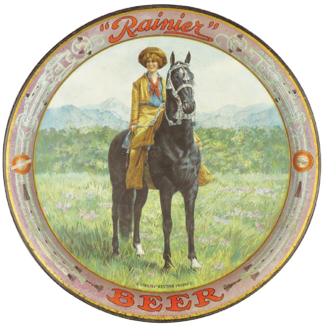Rainier Beer Serving Tray Depicting Cowgirl on horse