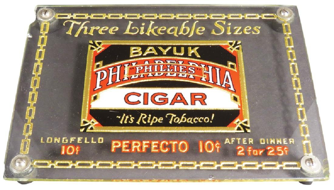 Phillies Cigars Glass Counter Top Advertising Tray