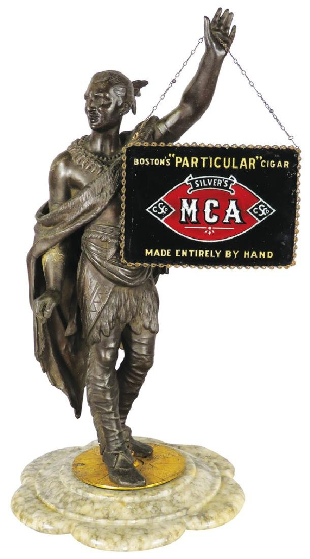 MCA Cigars Reverse Glass Sign and Native Statue