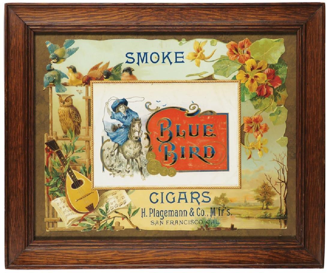 Blue Bird Cigars Die Cut Cardboard Sign