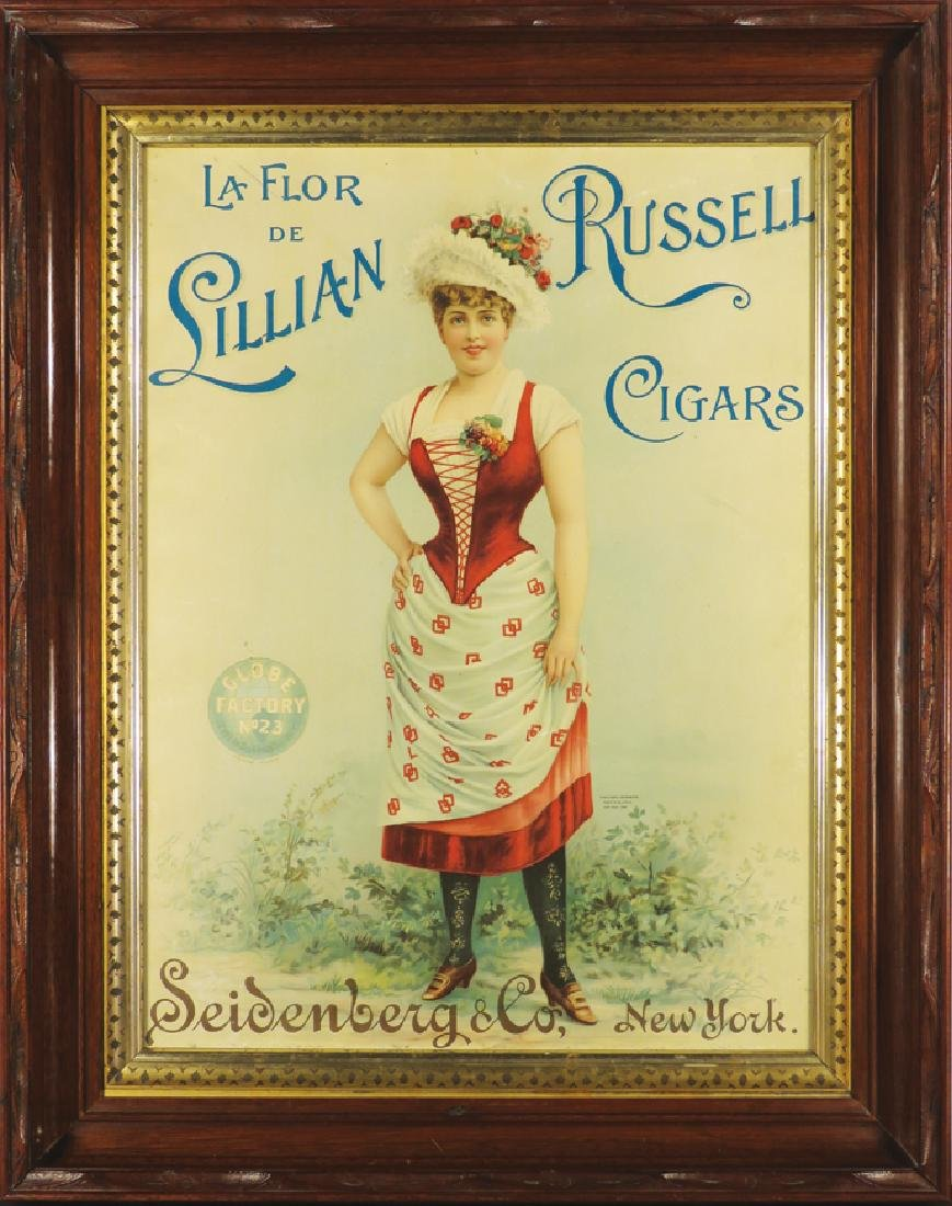 Lillian Russell Cigars Paper Advertising Sign