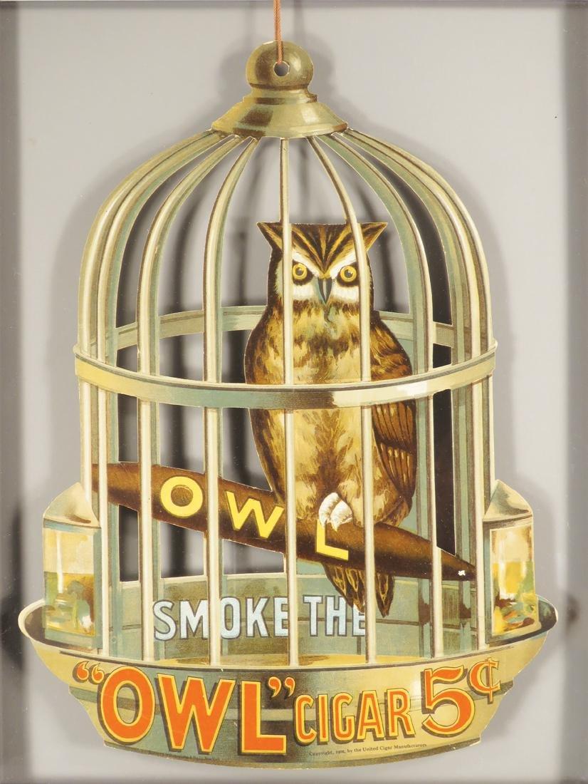 Owl Cigars Die Cut Cardboard String Hanging Sign