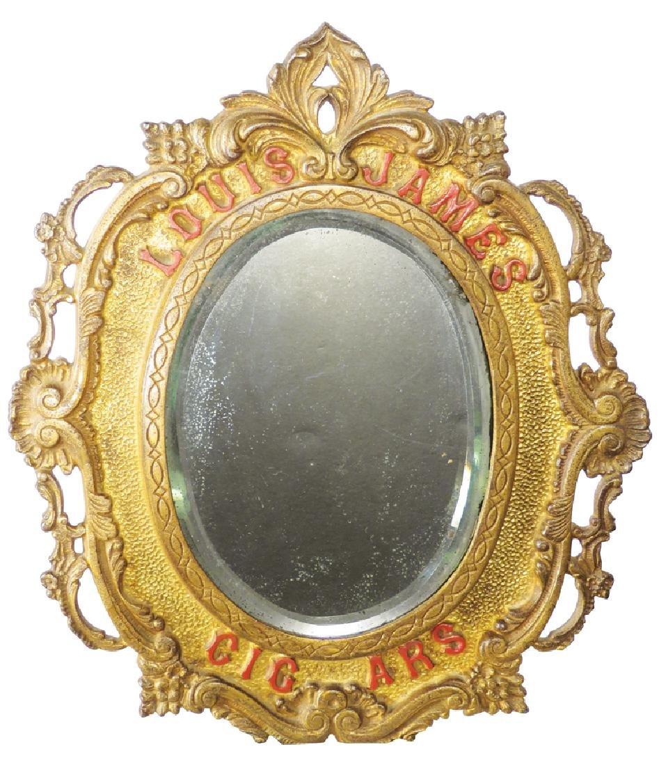 Louis James Cigars Cast Iron Advertising Mirror