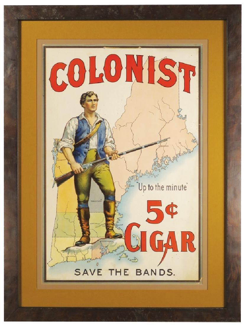 Colonist 5 Cent Cigar Cardboard String Hanging Sign