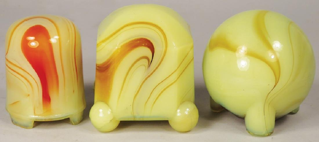 Collection of 3 Akro-Agate Cigar Lighters