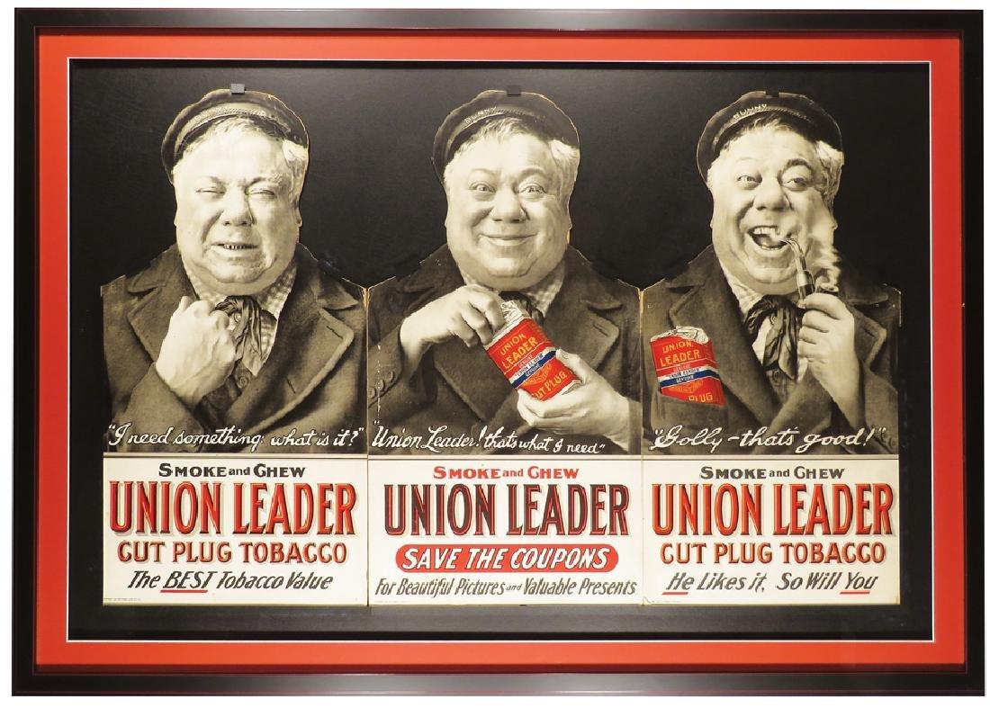 Union Leader Tobacco Tri-Fold Cardboard Sign