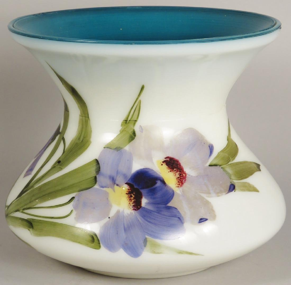 Antique Hand Painted Milk Glass Spittoon