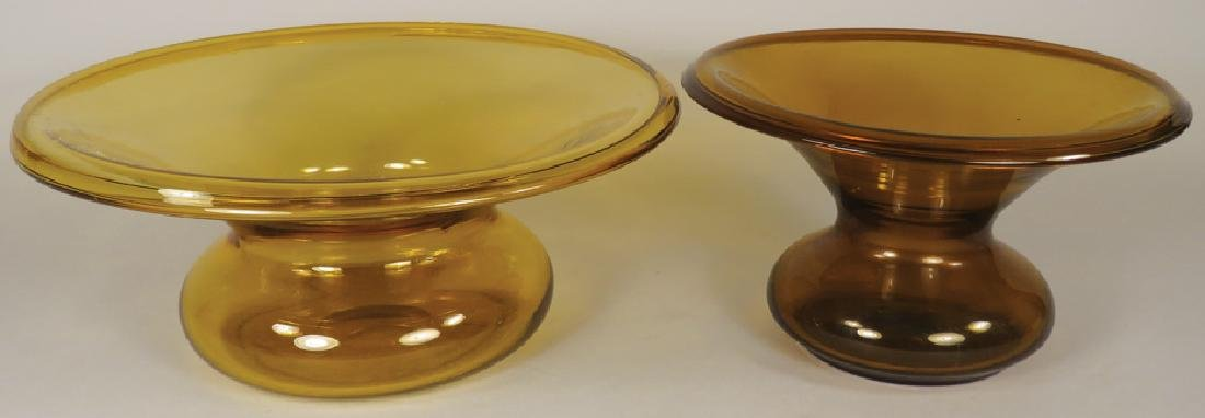 Two Antique Amber Glass Spittoons
