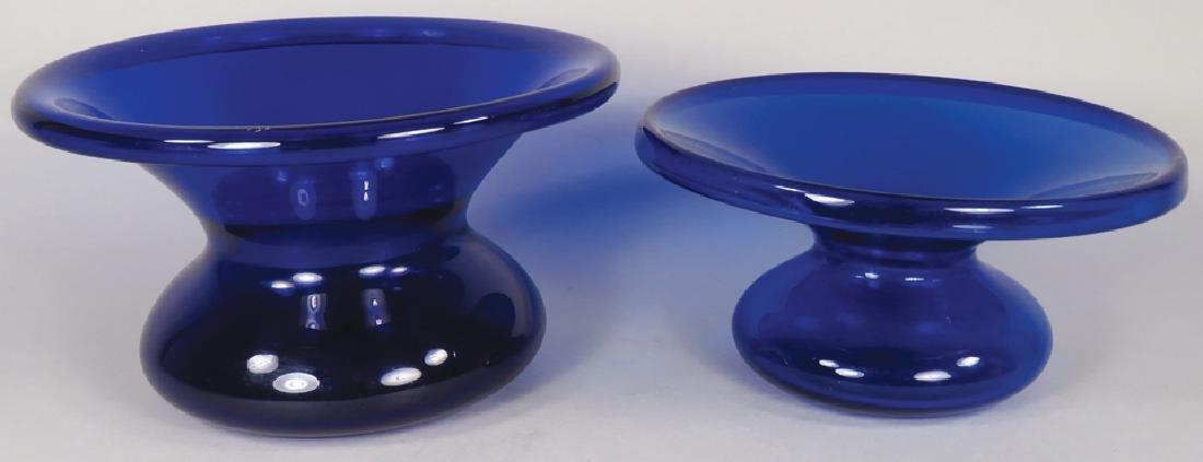 Two Antique Cobalt Blue Glass Spittoons