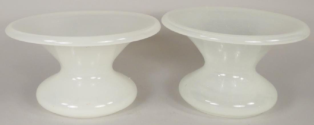 Two Antique White Translucent Glass Spittoons