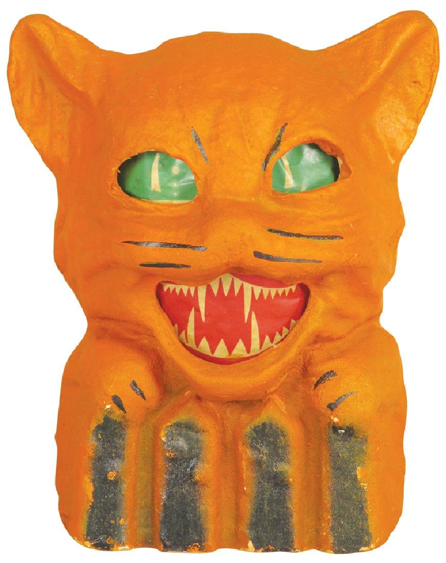 Cat on Fence Molded Pulp Paper Halloween Lantern