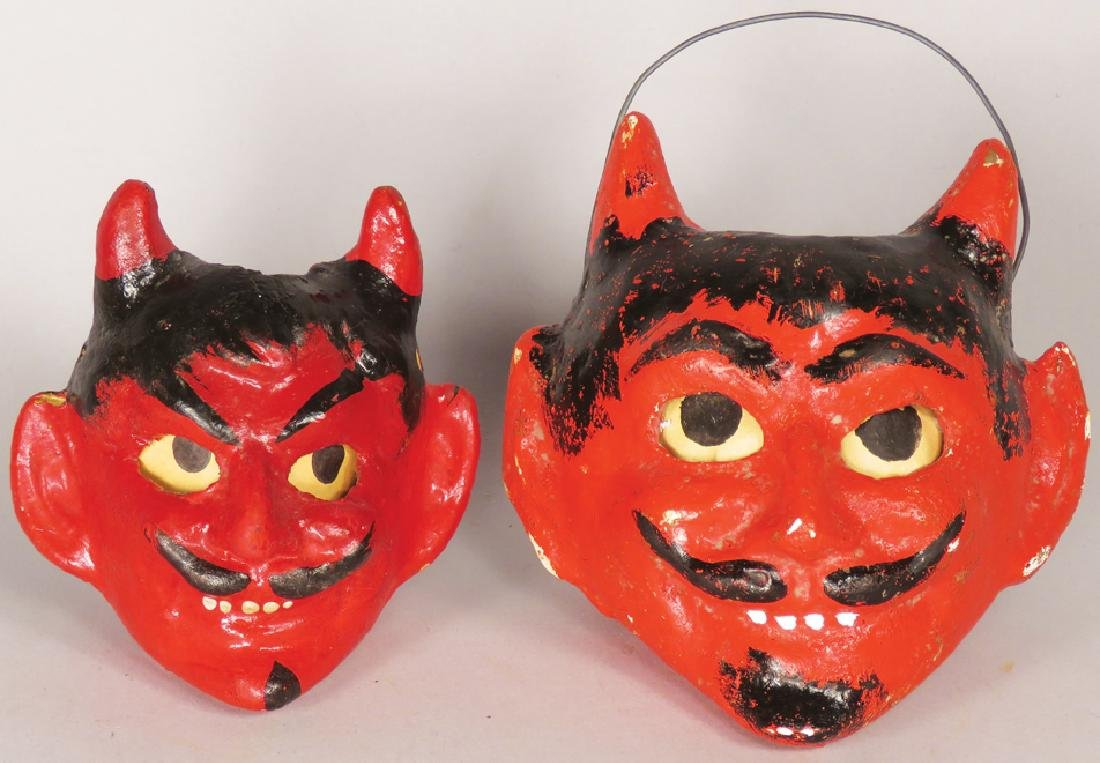 Two Vintage Devil Halloween Candy Pails