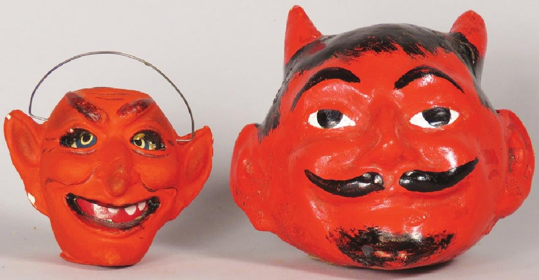 Two Vintage Devil Halloween Candy Containers