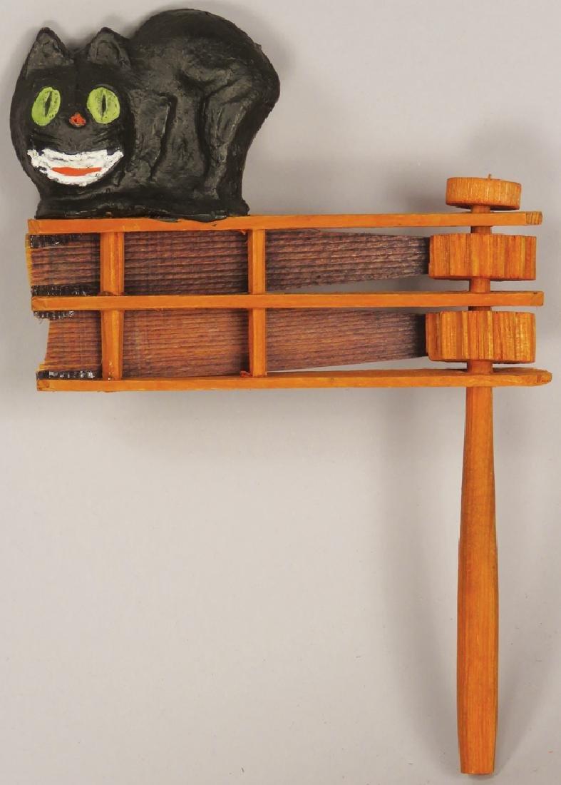 Two Vintage Halloween Wood Ratchet Noisemakers