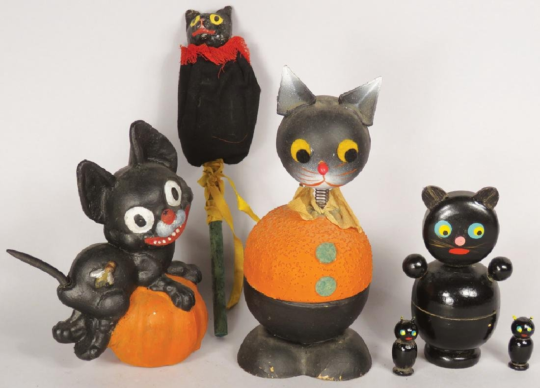 Collection of Vintage Black Cat Halloween Items