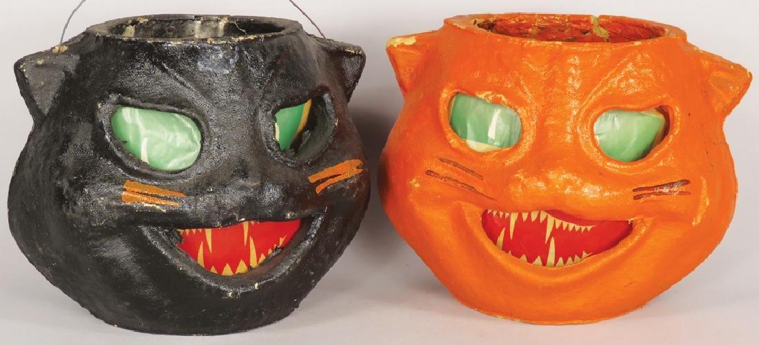 Cat Molded Pulp Paper Vintage Halloween Lanterns