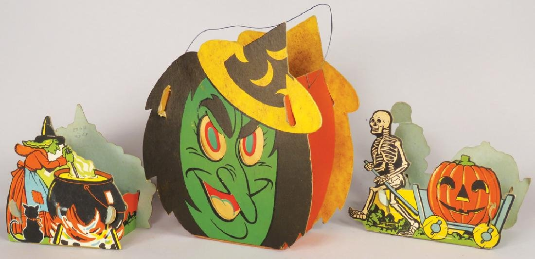 Collection of Vintage Cardboard Halloween Items